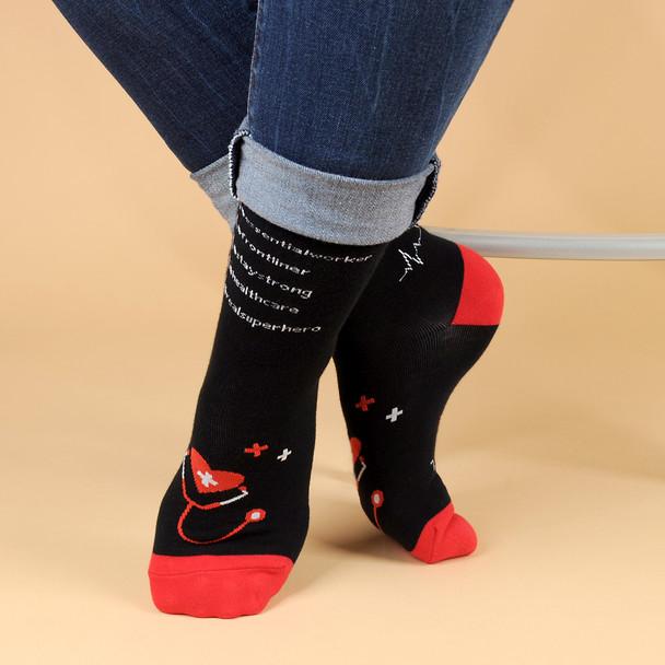 Health Care -Saving Lives- Premium Novelty Socks - NVSX2004-BK