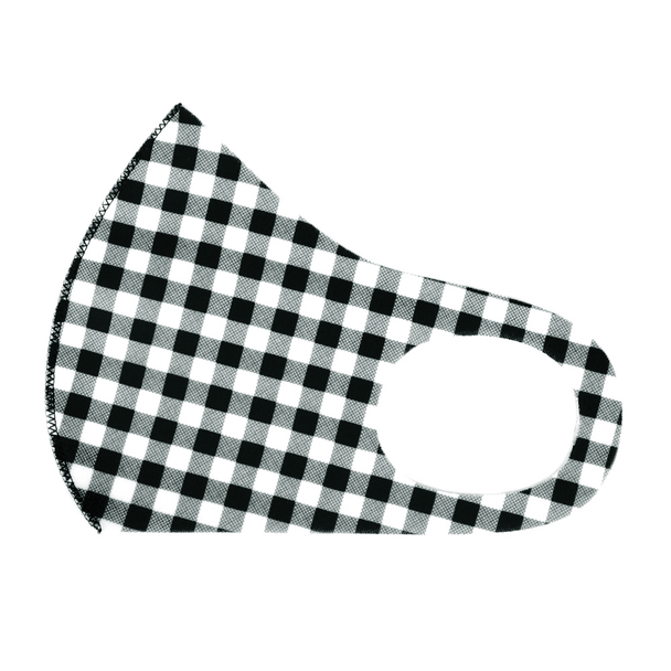 Black Gingham Plaid Print Fashion Face Mask - PPE27