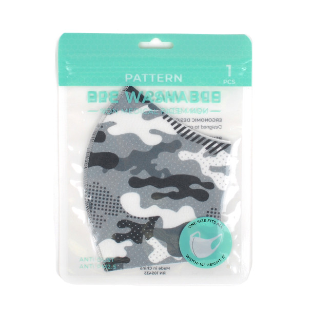 Gray Camouflage Fashion Face Mask - PPE40
