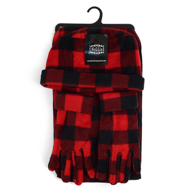 6pc Pack Women's Fleece Red Plaid Winter Set WSET9012