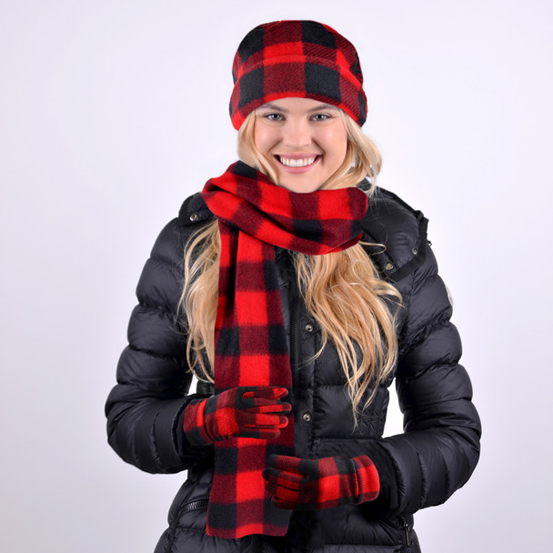 Women's Fleece Red Plaid Winter Set - WSET8020-RED