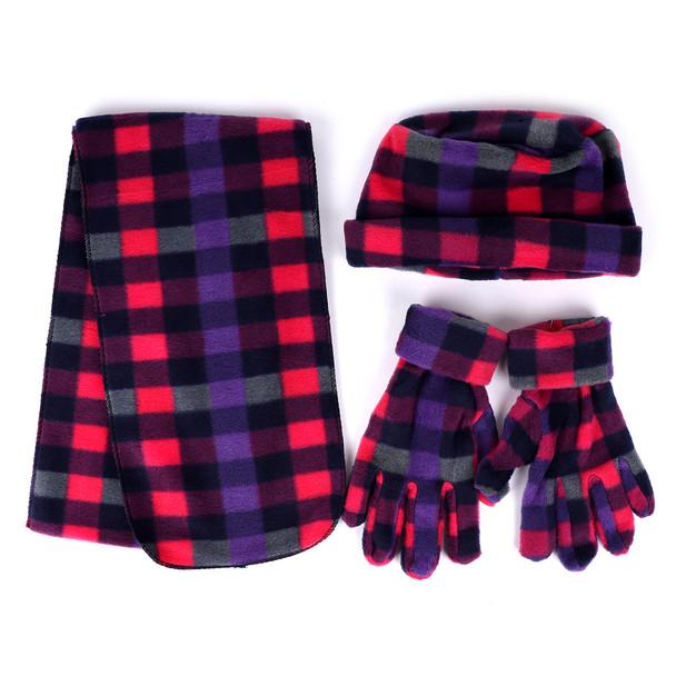 Women's Fleece Pink Plaid Winter Set - WNTSET9020