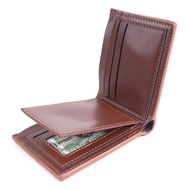 Men's Brown Striped Bi-fold Wallet - MLW5215