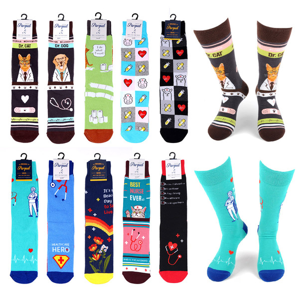 12 pc Assorted Men's Health Care Hero Socks - 12NVS19600-CV