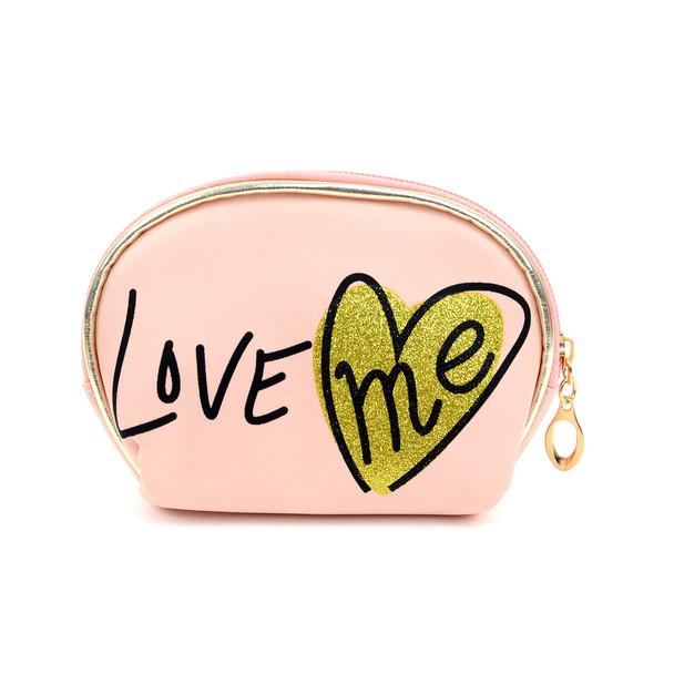 Ladies Clear & LOVE Printed Makeup Bag 3pc Set Cosmetic & Toiletry Bags LNCTB1706-LP