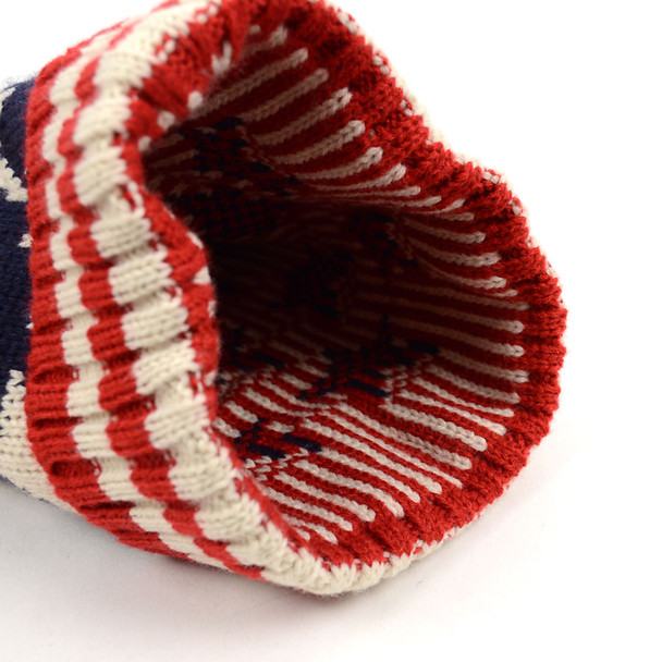Unisex American Flag Knit Pom Beanie Ski Hats with Stars- AFHAT02