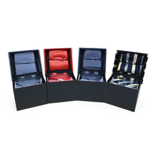 12pc Assorted Pack Boxed Poly Woven Tie, Hanky & Cufflink Set - PWFB3000