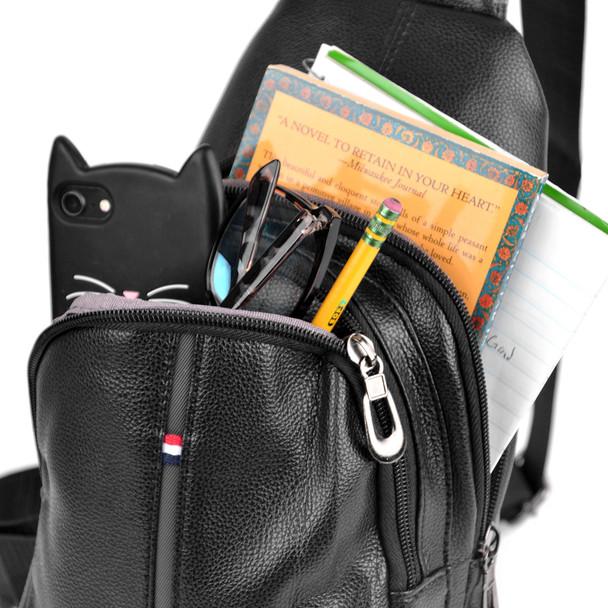 Black Crossbody  Leather Sling Bag Backpack with Adjustable Strap - FBG1824-BK