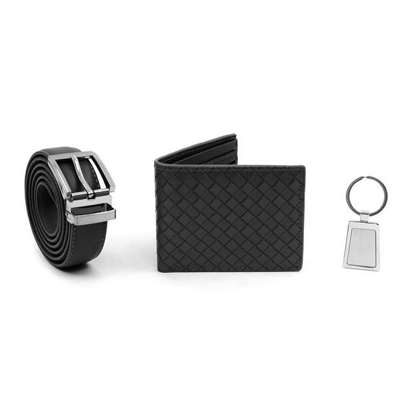12pc Assorted Pack Wallet, Keychain & Belt Sets WKB4601-BLACK