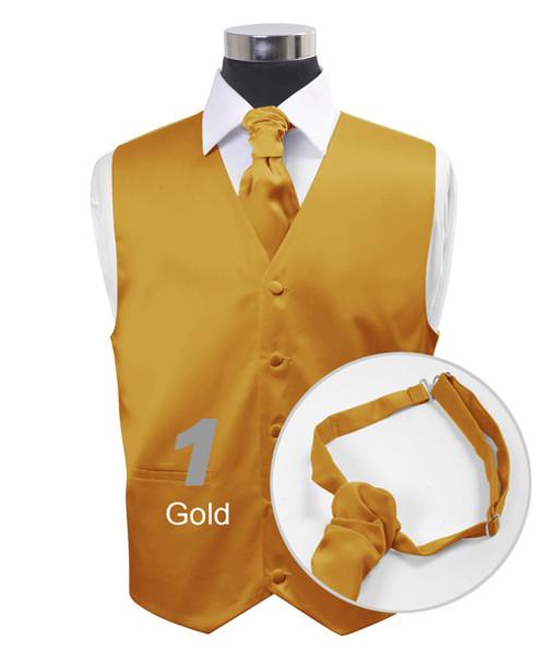 """Gold"" Poly Solid Satin Cravat FC1701-1"