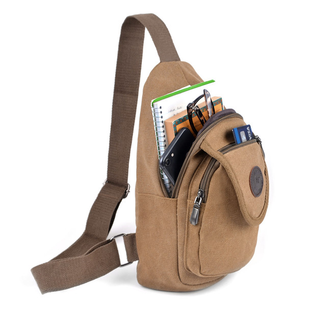 Brown Crossbody Canvas Sling Bag Backpack with Adjustable Strap - FBG1820-BR