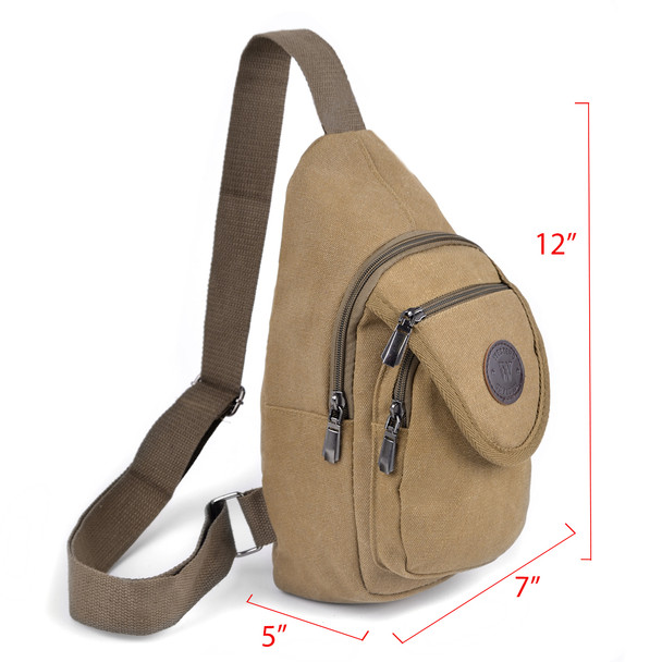 Tan Crossbody Canvas Sling Bag Backpack with Adjustable Strap - FBG1820-TN