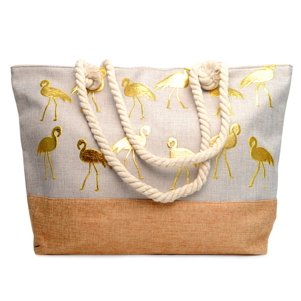 Gold Metallic Flamingo Ladies Tote bag - LTBG1201