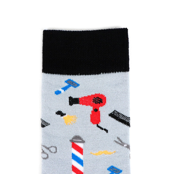 Women's Barber Shop Novelty Socks - LNVS19211-LTGRY