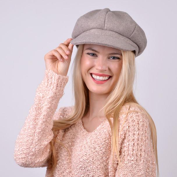 Women's Wool Beret Style Cabbie Baker Cap - LWC5027