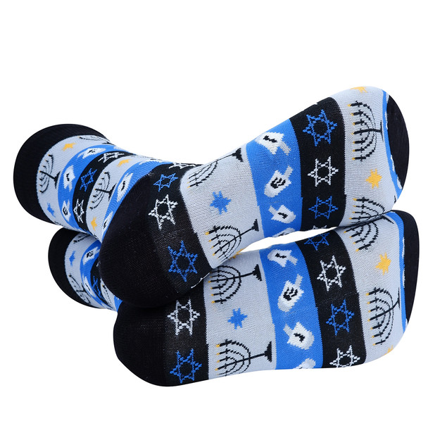 Men's Blue Hanukkah Novelty Socks- NVS19614-BK