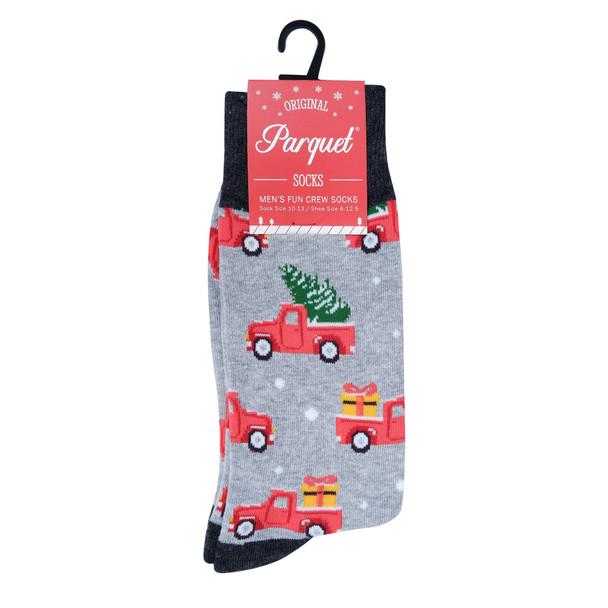 Men's Holiday Truck Novelty Socks- NVS19616-GRY