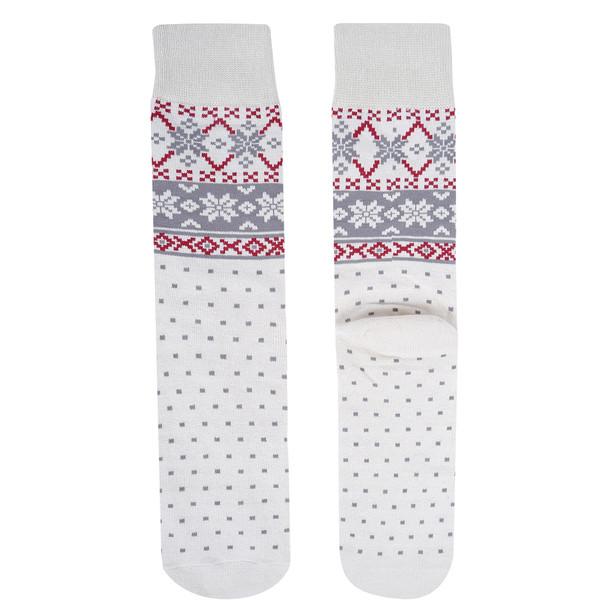 Men's White Snowflake Novelty Socks- NVS19619-WHT