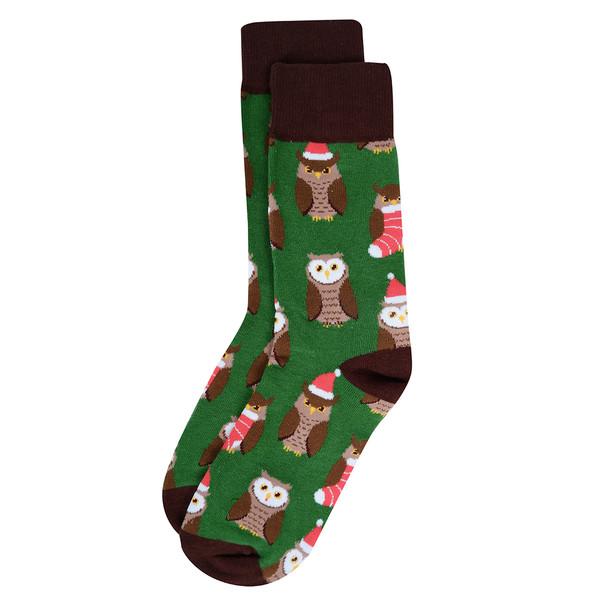 Men's Green Owl Holiday Novelty Socks- NVS19620-GRN