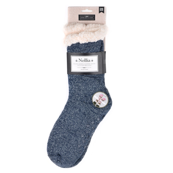 Women's Sparkly Plush Sherpa Winter Fleece Lining Solid Slipper Socks - WFLS1012