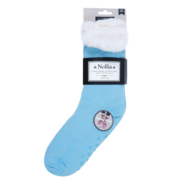 Women's Solid Sparkly Plush Sherpa Fleece Lined Slipper Socks - WFLS1012
