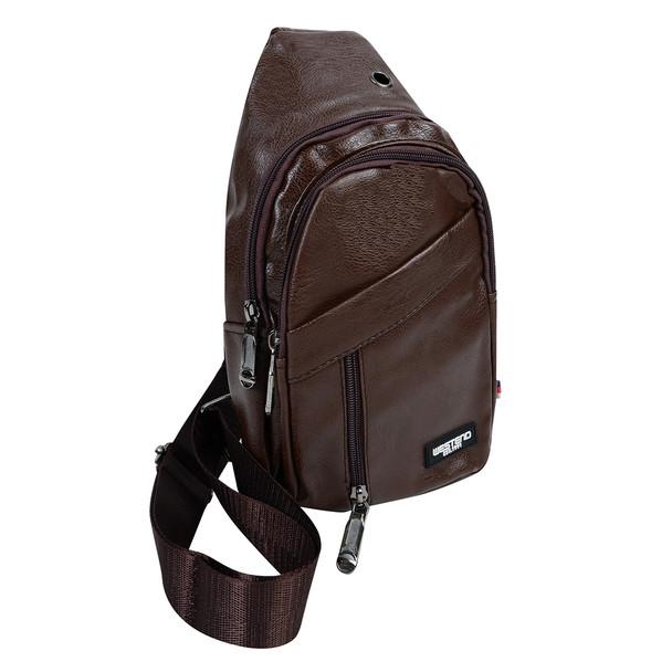 Dark Brown Synthetic Leather Crossbody Sling Bag- FBG1862