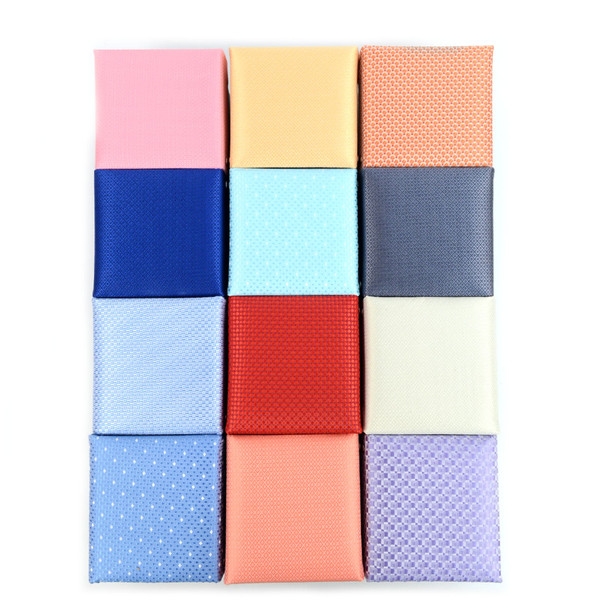 12pc Assorted Pack Boxed Poly Woven Tie, Hanky & Cufflink Set - Solid - PWFB4000