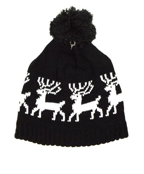 526375549a3 Black Reindeer Beanie Ski Hat with Pom Pom - H9254
