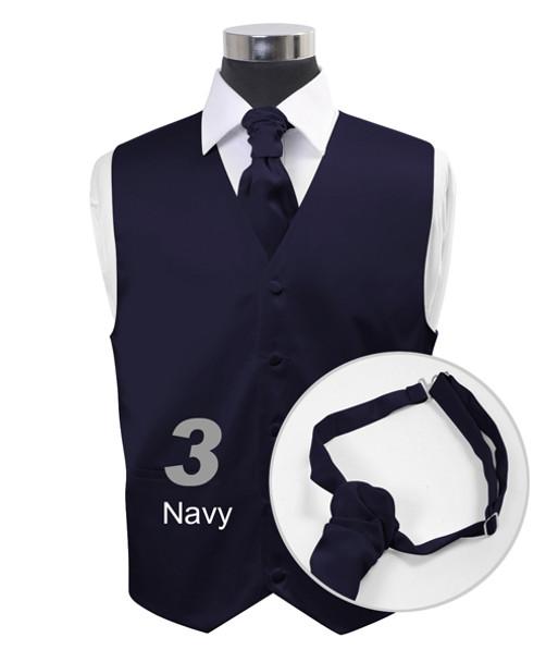 """Navy"" Poly Solid Satin Cravat FC1701-3"
