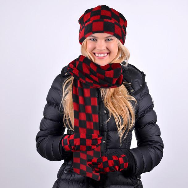 Women's Fleece Red & Black Checkered Winter Set WSET8040