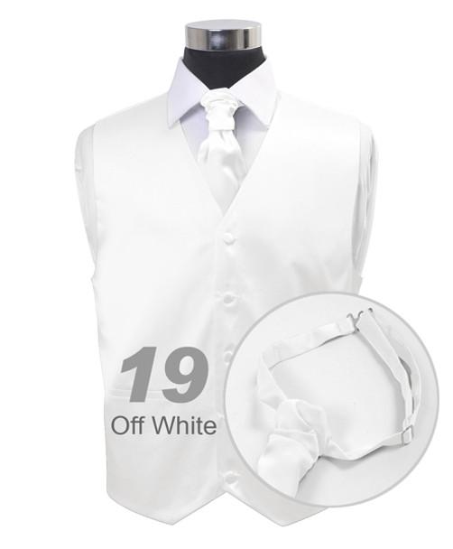 """Off White"" Poly Solid Satin Cravat FC1701-19"