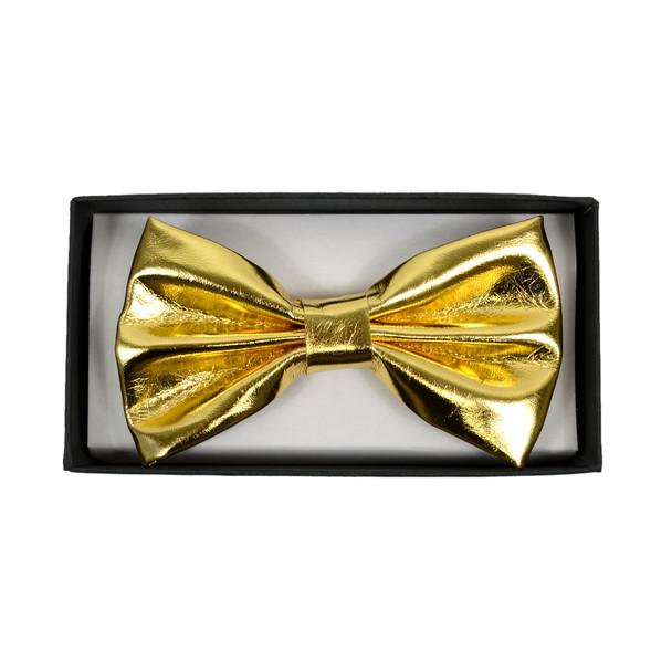 Men's Metallic Gold Banded Bow Tie