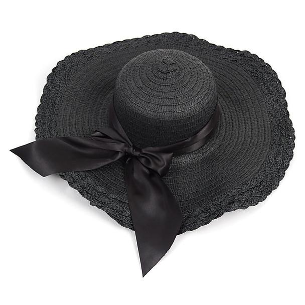 "6pc Women's 5"" Brim Bow Floppy Hat LFH1116"