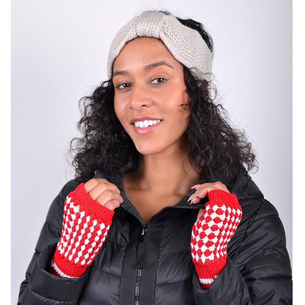 30pc Random Assorted Women's Knit Fingerless Gloves GL1302-30ASST
