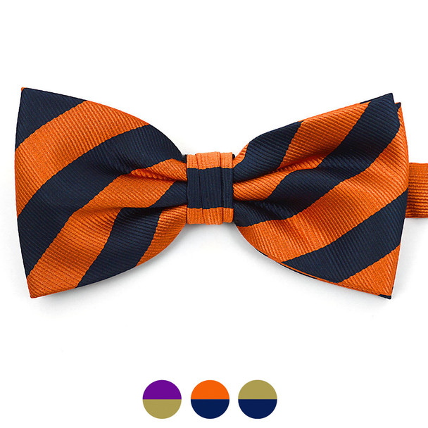 Men's Microfiber Poly Woven College Banded Bow Tie CBB3801