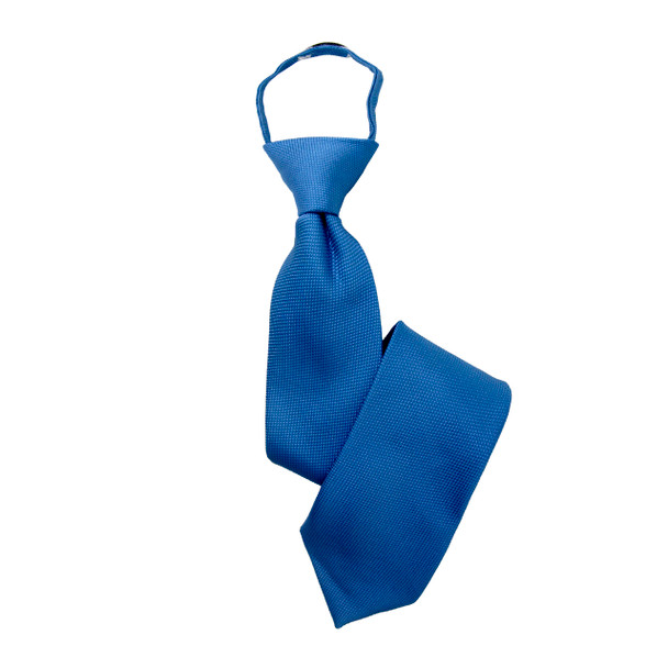 "Boy's 17"" Solid Royal Blue Zipper Tie"