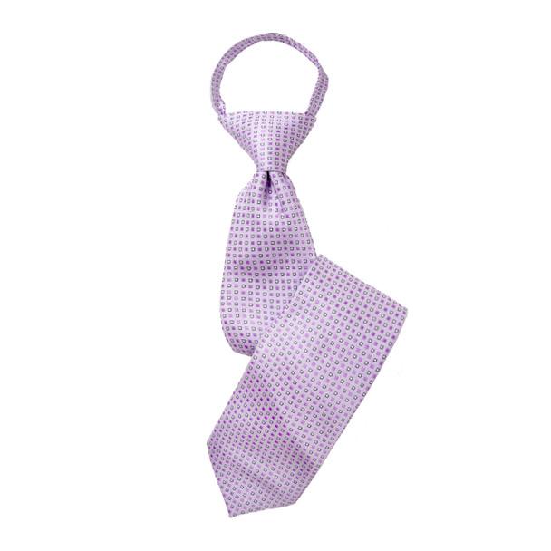"""Boy's 17"""" Geometric Purple Zipper Tie"""