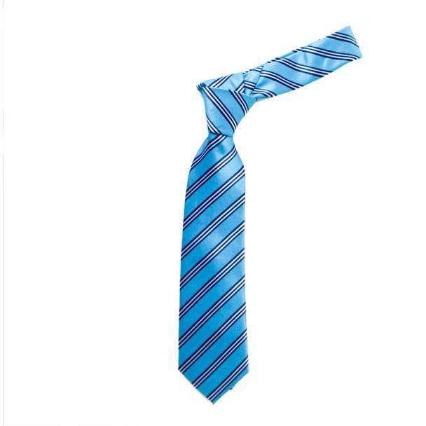 """Boy's 49"""" Bold Stripes Turquoise Fashion Tie"""