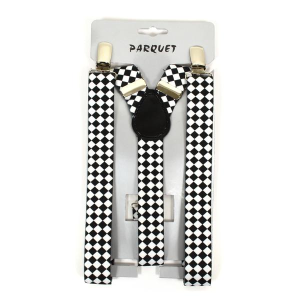 Boy's Y-Back Diamond Checkered Adjustable Elastic Clip-on Suspenders BSCS1071-21