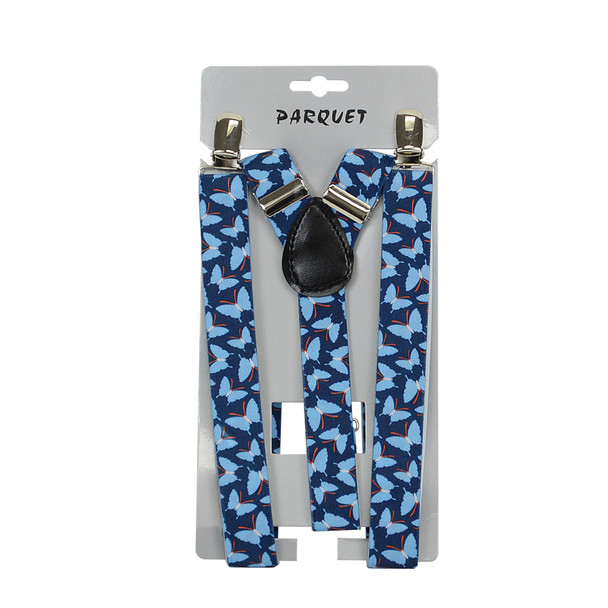 6pc Men's Y-Back Butterfly Adjustable Elastic Clip-on Suspenders