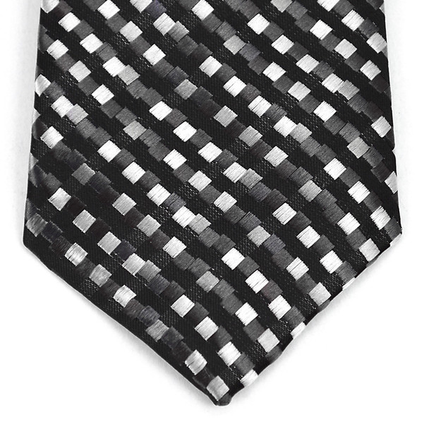 "Boy's 14"" Black & Grey Square Stripes Zipper Tie MPWZ14-03"