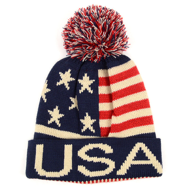 Unisex American Flag Knit Pom Beanie Ski Hats - AFHAT