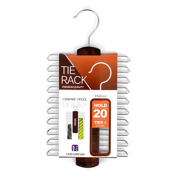 Walnut Color Wooden Tie Rack WTR21