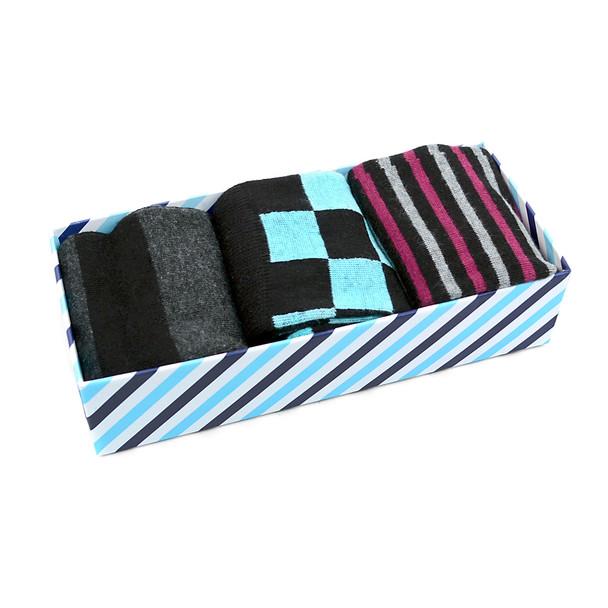Fancy Multi Colored Socks Striped Gift Box (3 Pairs in Box) MFS1008