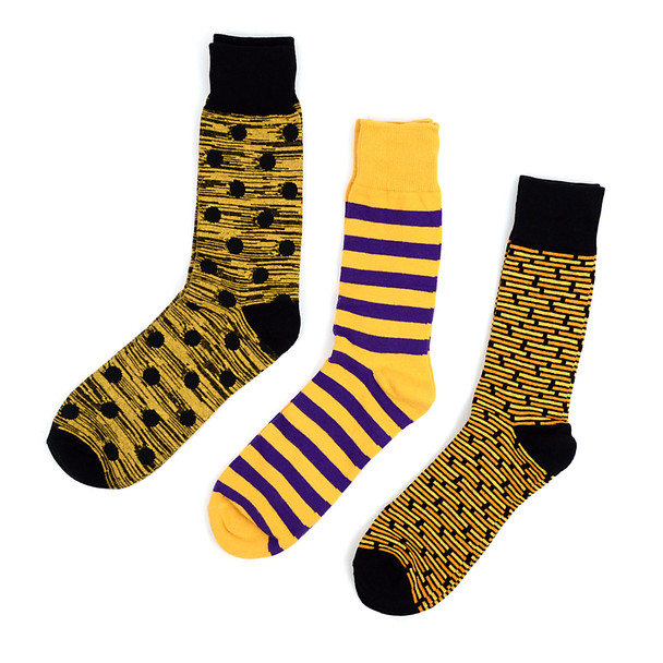 Fancy Multi Colored Socks Striped Gift Box (3 Pairs in Box) MFS1028