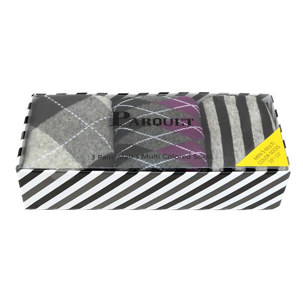 Fancy Multi Colored Socks Striped Gift Box (3 Pairs in Box) MFS1018