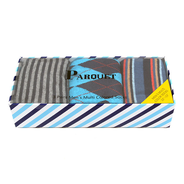 Fancy Multi Colored Socks Striped Gift Box (3 Pairs in Box) MFS1024