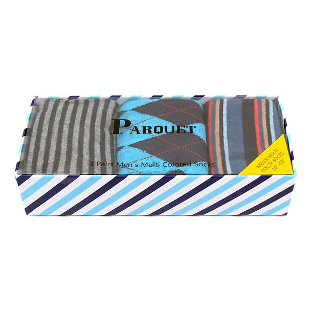 Fancy Multi Colored Socks Striped Gift Box (3 Pairs in Box) MFS1024