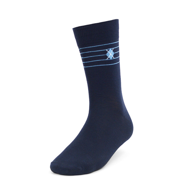 3pcs (3 Pairs) Men's Navy Fancy Dress Socks 3PKS-DRSY4
