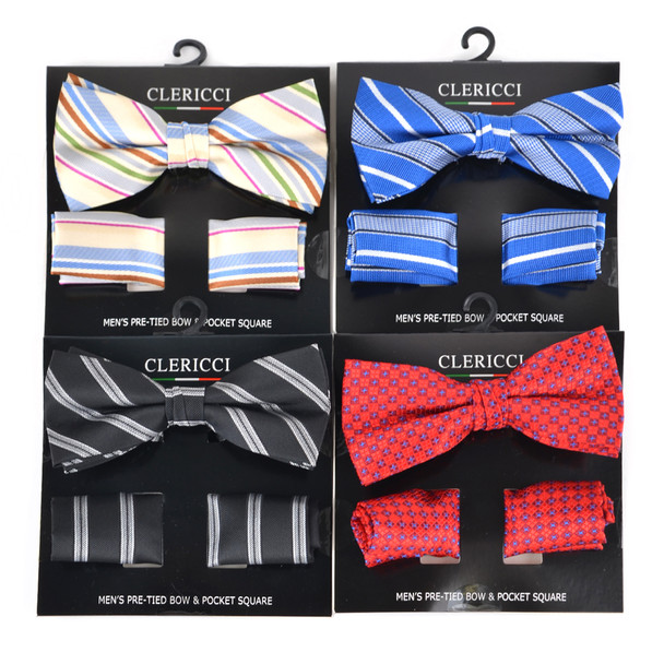 12pc Assorted Men's Big & Tall Stripes and Assorted Pattern Banded Bow Tie & Hanky BTH5000B